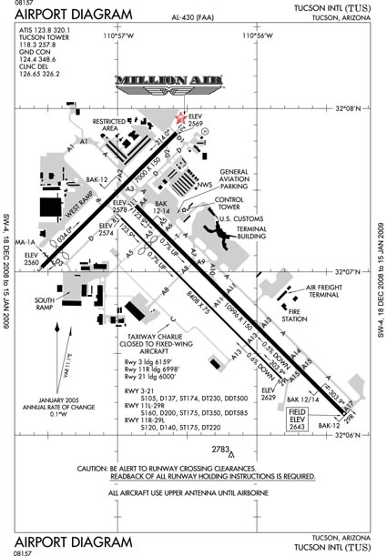 Tucson International Airport Map: Million Air Tucson